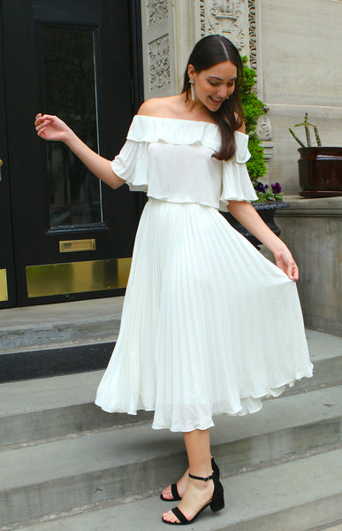 Chiffon Pleated Sleeves Off the Shoulder Blouse - Ivory