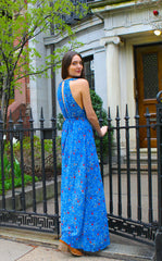 Ruffle Strap Floral Print Slit Front Maxi Dress - Blue/Multi