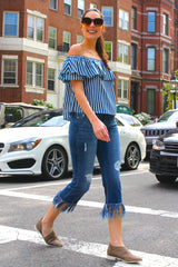 Striped Off the Shoulder Chambray Top - Dark Blue/Ivory