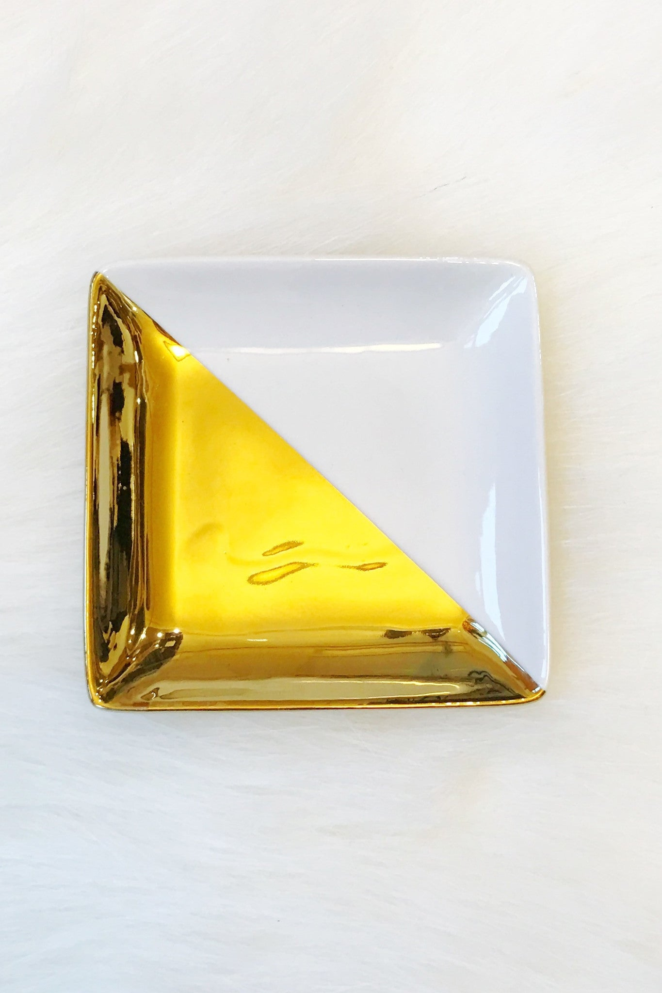 Metallic Dipped Square Tray - Gold or Silver