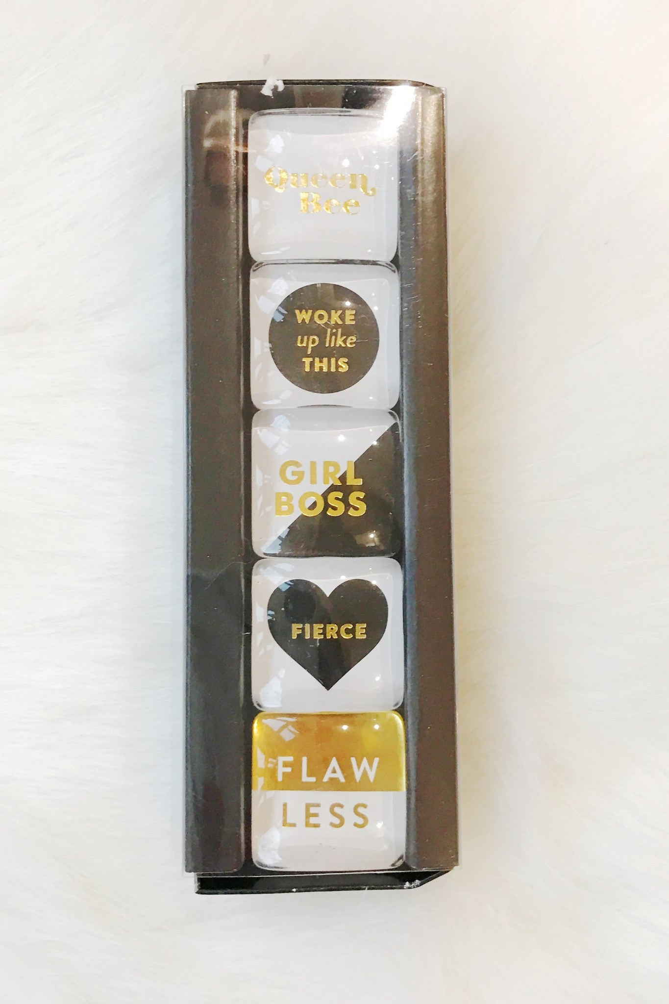 Girl Boss Set of 5 Magnets - Black/Gold