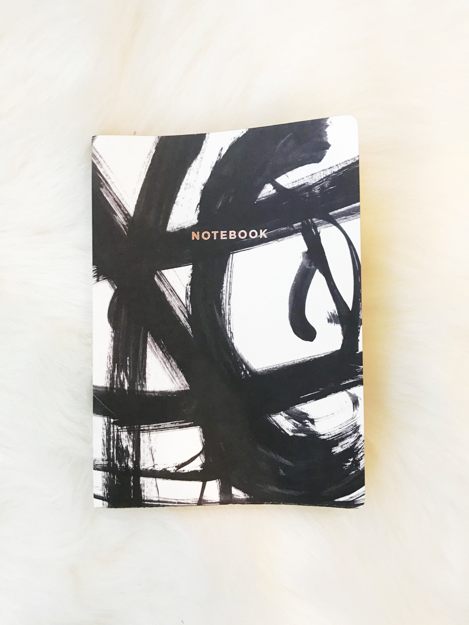 Brushstrokes Notebook - Black/White