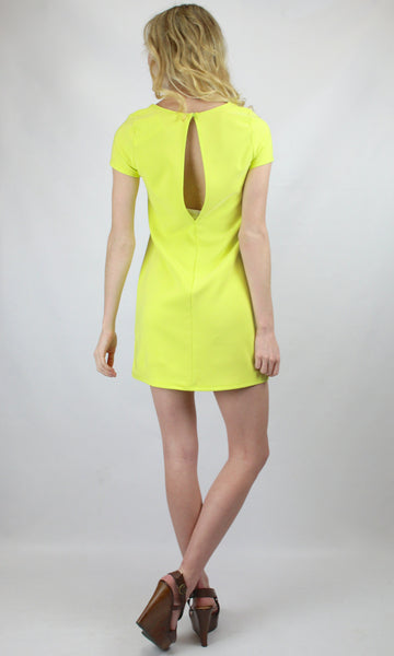 First Day of Spring Short Sleeve Notch Neck Open Back Shift Dress - Lime