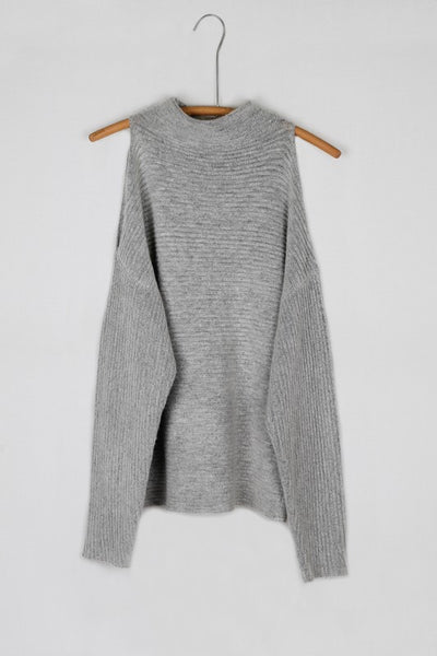 Fuzzy Ribbed Cold Shoulder Dolman Sleeve Mock Neck Sweater - Heather Gray