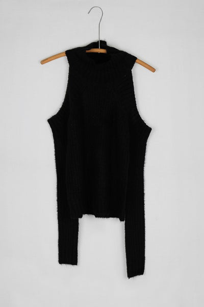 Soft Thick Ribbed Turtleneck Cold Shoulder Sweater - Black