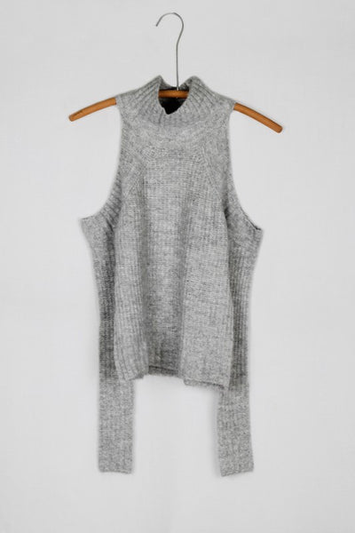 Soft Thick Ribbed Turtleneck Cold Shoulder Sweater - Gray