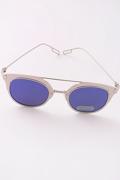 Thick Metal Frame Reflective Lens Sunglasses - Rose Gold or Silver