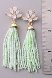 Jeweled Floral Tassel Earrings - Peach or Silver