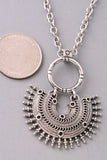 Multi Layered Coin and Spiked Pendants Necklace - Antiqued Gold or Antiqued Silver