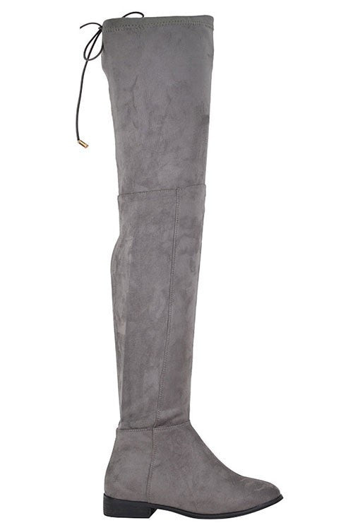 """Taly"" Over the Knee Back Tie Faux Suede Flat Boots - Gray"