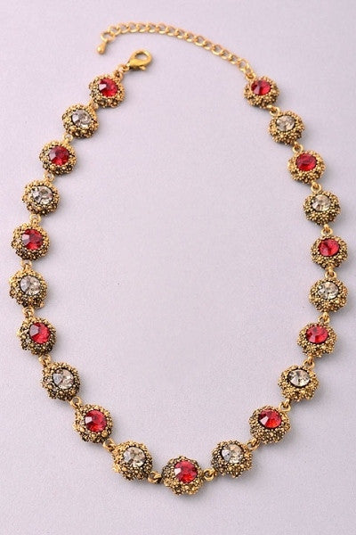 Antiqued Gold Linked Filigree Rhinestones Necklace - Red or Navy