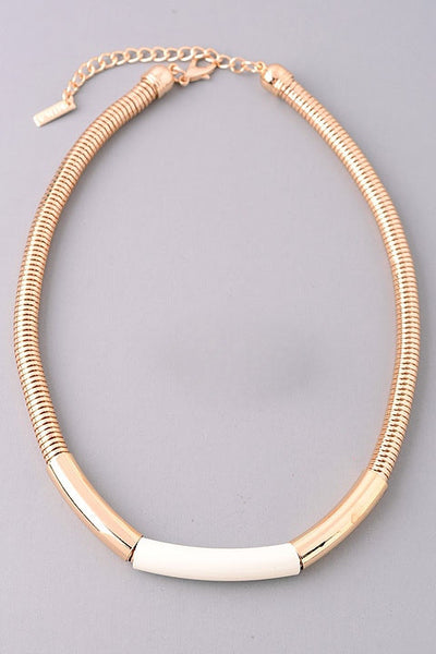 Gold Coil and Color Block Necklace - Black, Ivory or Nude