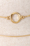 Circular Pendant Bar Choker Necklace - Gold or Silver