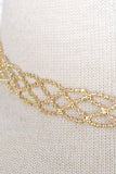 Net Cutout Trim Choker Necklace - Gold or Silver
