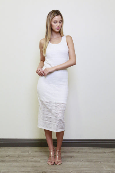 Sleeveless Crochet Midi Dress - Ivory