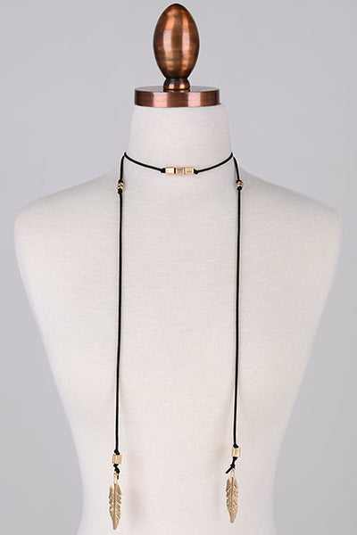 Feather Charm Ends Faux Suede Long Wrap Choker Necklace - Black