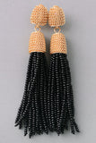 Gold Top Tassel Earrings - Black, Gray or Ivory