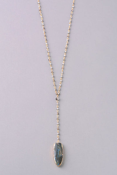 Opulent Stone Pendant Beaded Y Necklace - Clear or Gray