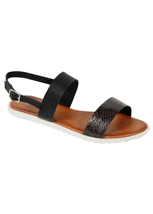 """Cameron"" Double Strap Snakeskin Flat Sandals - Black"