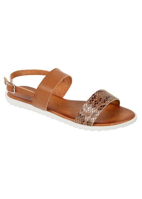 """Cameron"" Double Strap Snakeskin Flat Sandals - Camel"