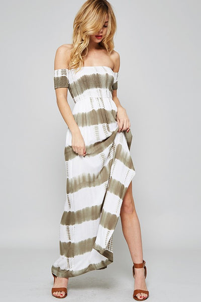 Tie Dye Smocked Off the Shoulder Maxi Dress - Olive/Ivory