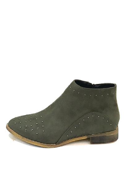 """Tassos"" Studded Faux Suede Pointy Toe Booties - Olive"