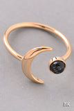 Crescent Moon and Stone Ring - Black, Turquoise or White