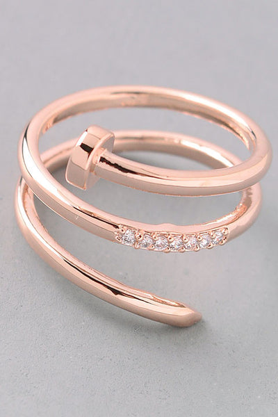 Coiled Up Nail Ring - Gold, Rose Gold or Silver
