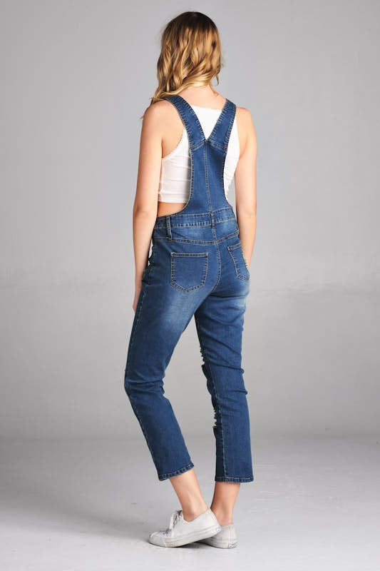Distresssed Skinny Leg Denim Overalls - Medium Wash