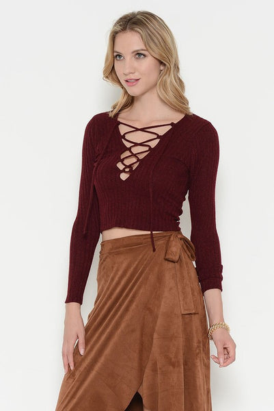 Long Sleeve Ribbed Lace Up Front Crop Top - Wine