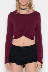 Long Bell Sleeves Twist Front Jersey Crop Top - Wine