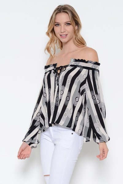 Long Sleeve Off the Shoulder Aztec Stripe Print Tie Blouse - Black/Gray