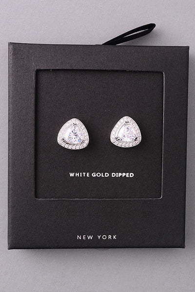 Triangle Jeweled Stud Earrings - Gold or Silver