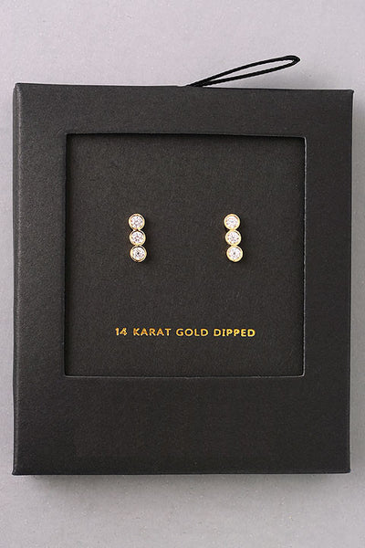Dainty Triple Gem Stud Earrings - Gold or Silver