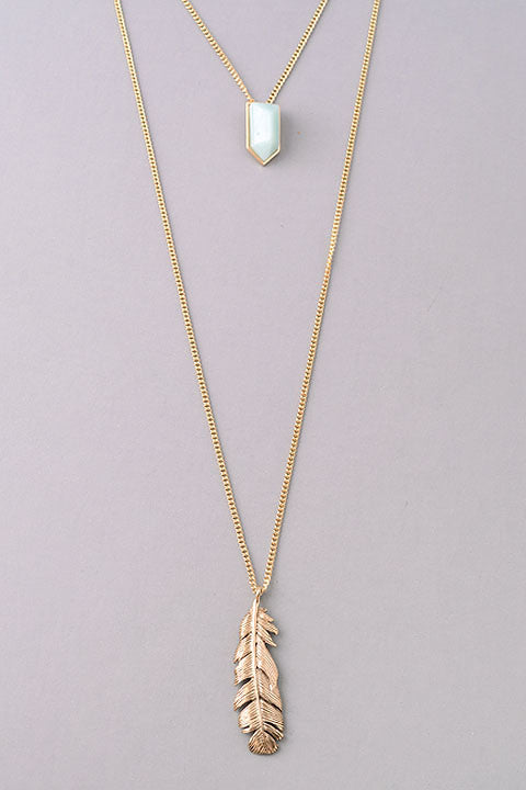 Double Layer Stone and Feather Pendant Necklace - Gray, Coral or Mint