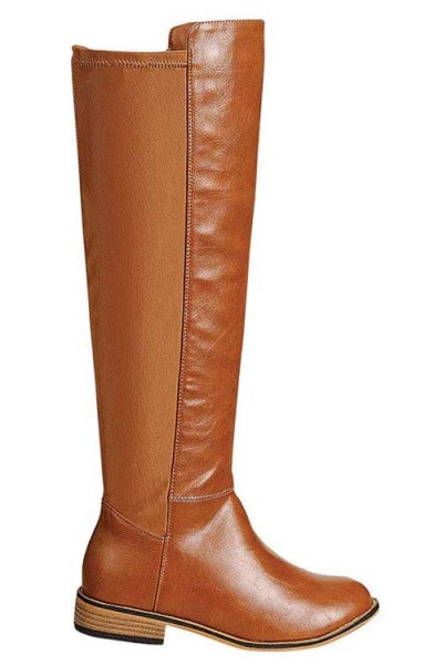 """Dalia"" Knee High Flat Faux Leather Boots - Camel"