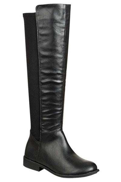 """Dalia"" Knee High Flat Faux Leather Boots - Black"