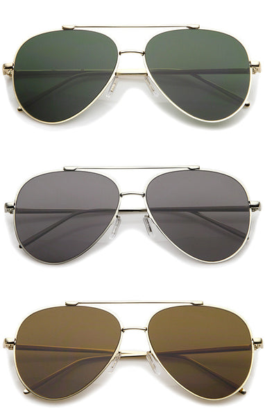 Classic Large Aviator Sunglasses - Green/Gold, Gray/Silver, Amber/Gold, Green/Black or Brown/Silver