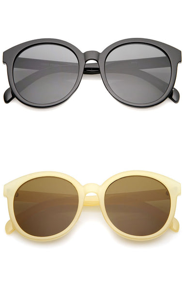 Classic Oversized Round Sunglasses - Brown/Black, Brown/Tortoise, Black/Black/Tortoise, Gray/Black or Brown/Nude