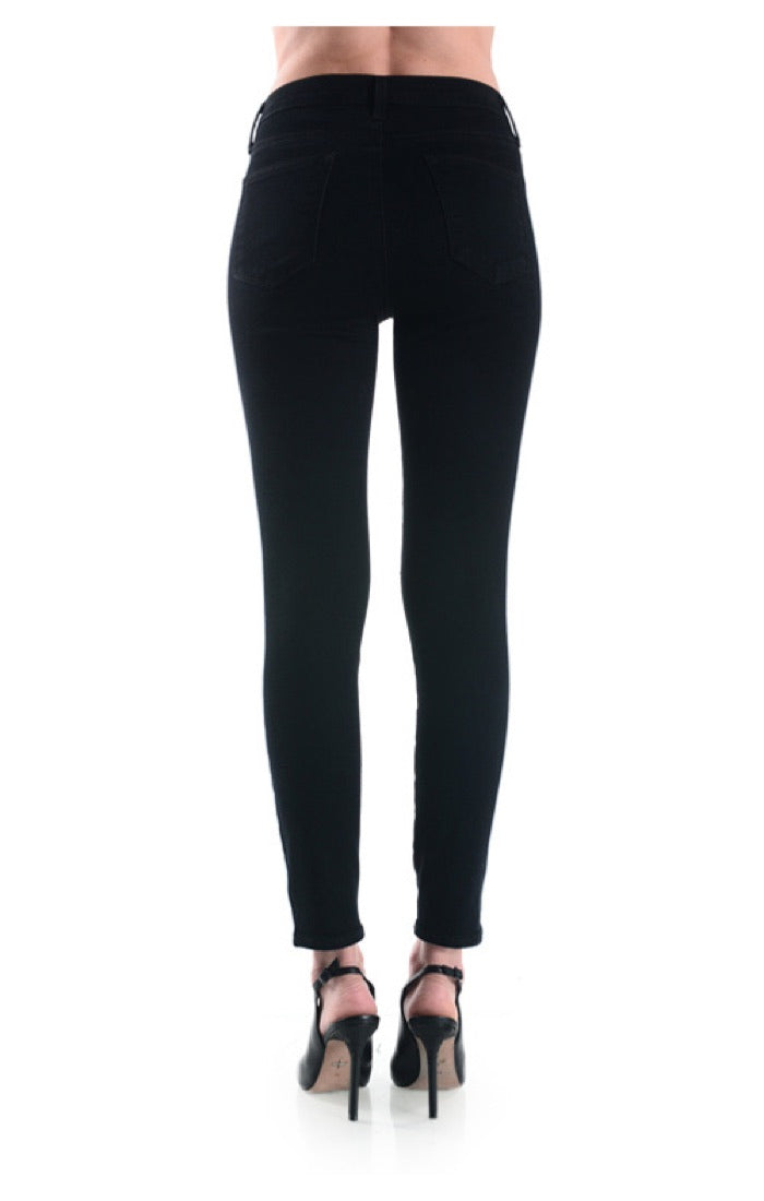 High Rise Knee Slit Overdye Skinny Jeans - Charcoal