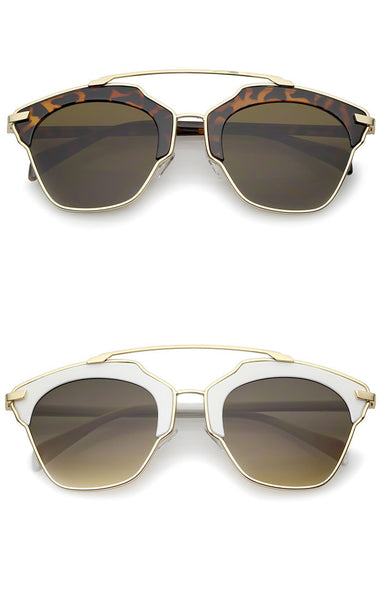 Enamel Frame Metal Bridge Aviator Sunglasses - Brown/White, Green/Tortoise, Black/Silver or Black/Gold