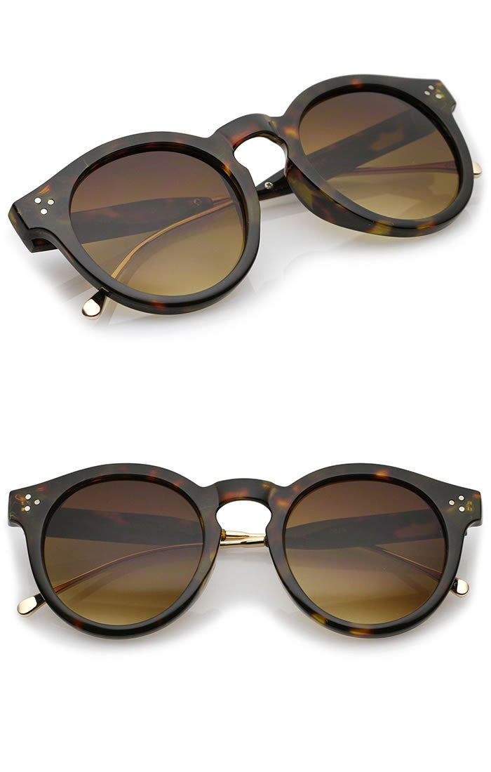 Thick Plastic Rounded Frame Sunglasses - Gray/Gray, Gray/Black, Brown/Nude or Brown/Tortoise