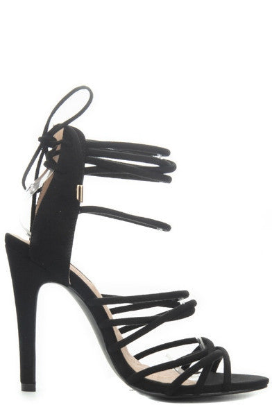 """Adelina"" Faux Suede Strappy Ankle Tie High Heel Sandals - Black"