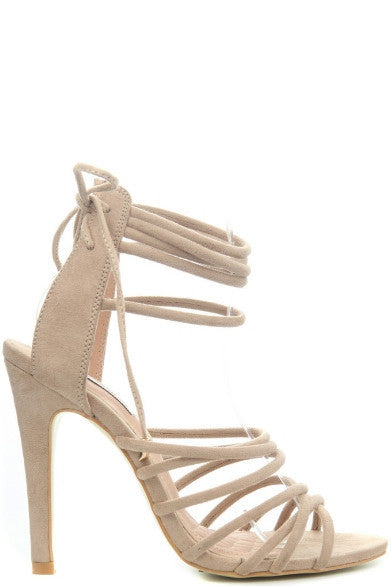"""Adelina"" Faux Suede Strappy Ankle Tie High Heel Sandals - Nude"
