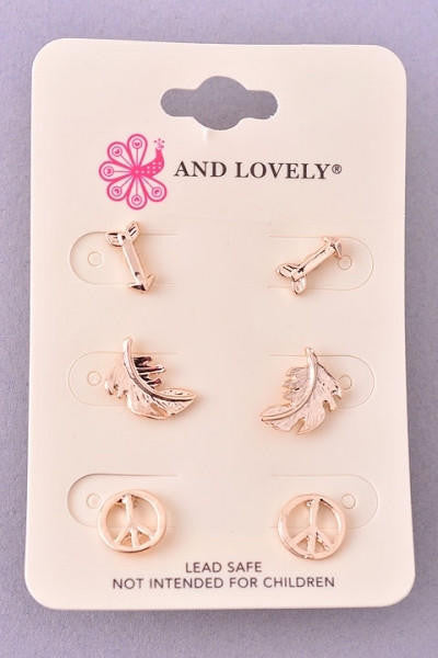 Arrow, Leaf and Peace Stud Earrings Set - Gold