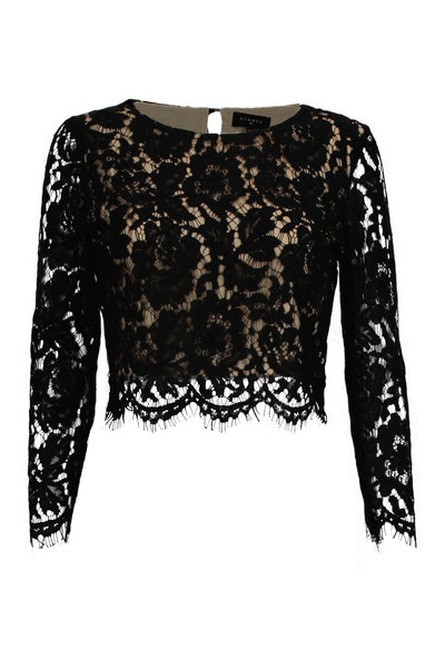 It S A Lace Thing 3 4 Sleeve Cropped Top Black H C B