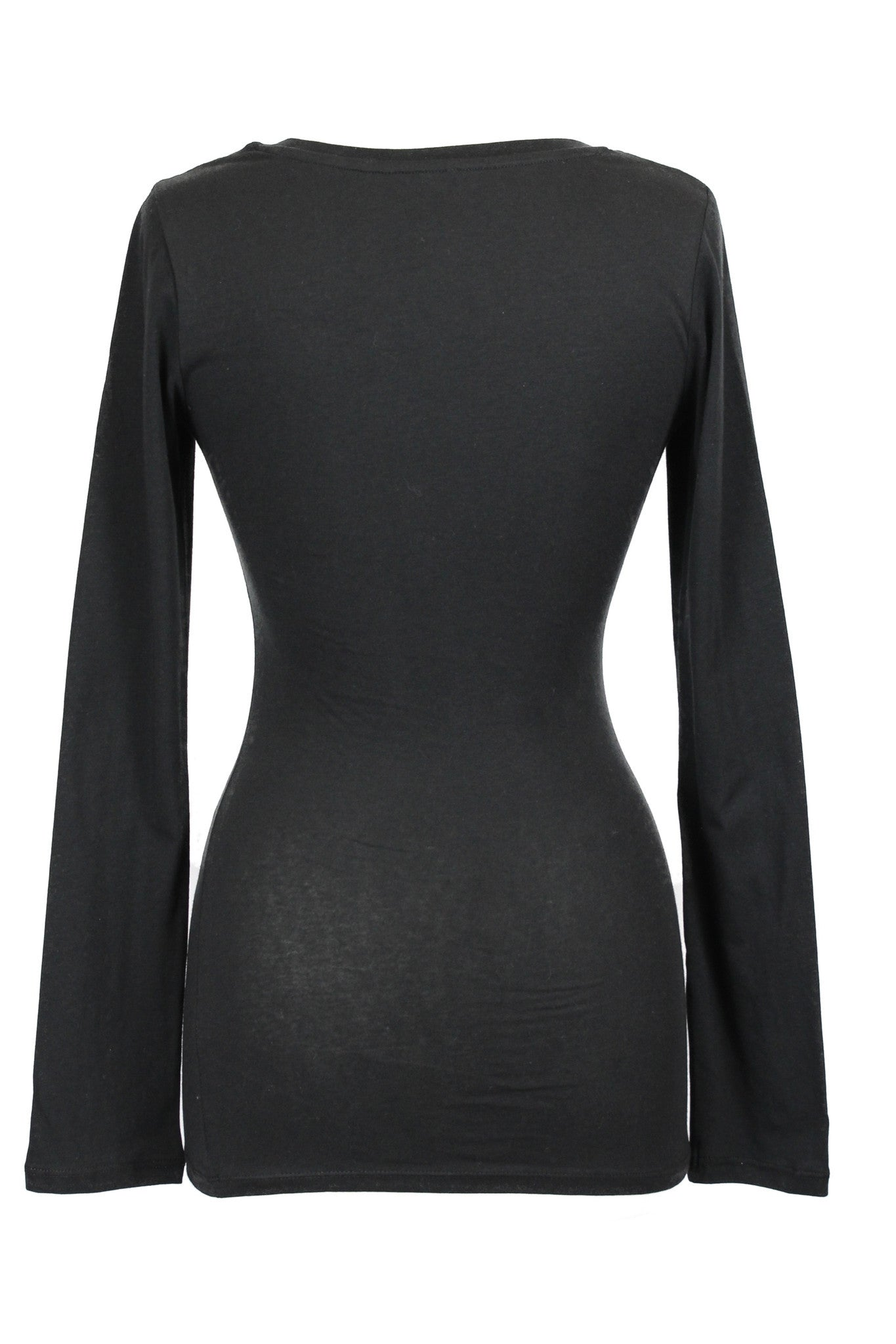 Basic Long Sleeve Scoop Neck Jersey Top - Black