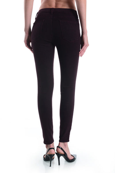 High Rise Knee Slit Overdye Skinny Jeans - Burgundy