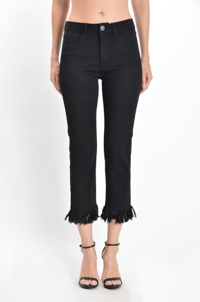 High Rise Slim Fit Extra Frayed Hem Cropped Jeans - Black