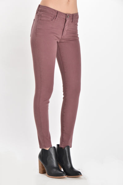 Mid Rise Soft Wash Ankle Skinny Jeans - Rosewood